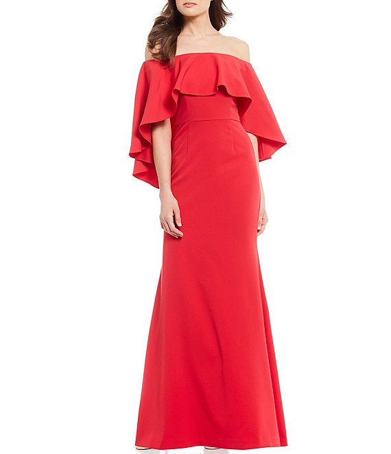 Color:Cherry - Image 1 - Off-the-Shoulder Ruffle Hi-Low Cape Gown