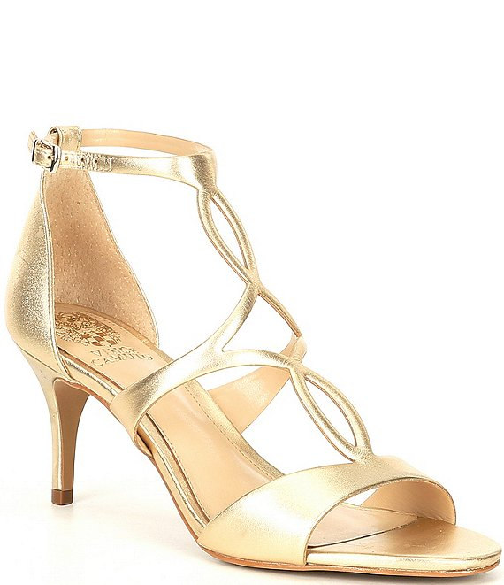 Color:Egyptian Gold - Image 1 - Payto Metallic Leather Ankle Strap Dress Sandals