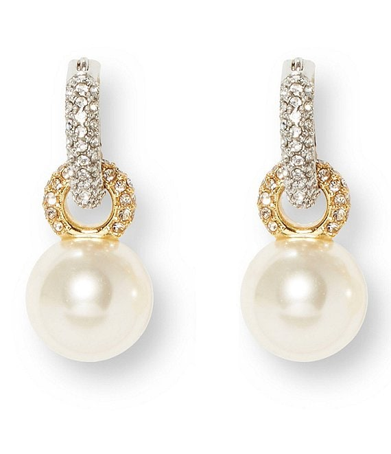 Color:Gold - Image 1 - Pearl Huggie Earrings