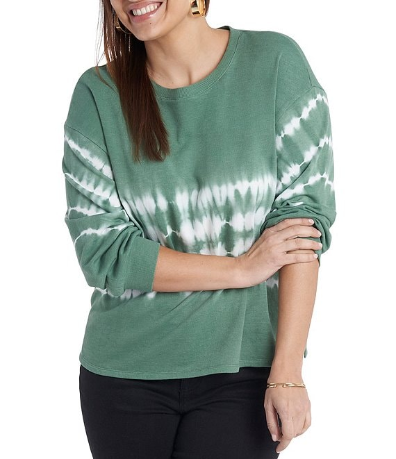 Color:Lush Eden - Image 1 - Plus Size Tie Dye Striped Long Sleeve Knit Top