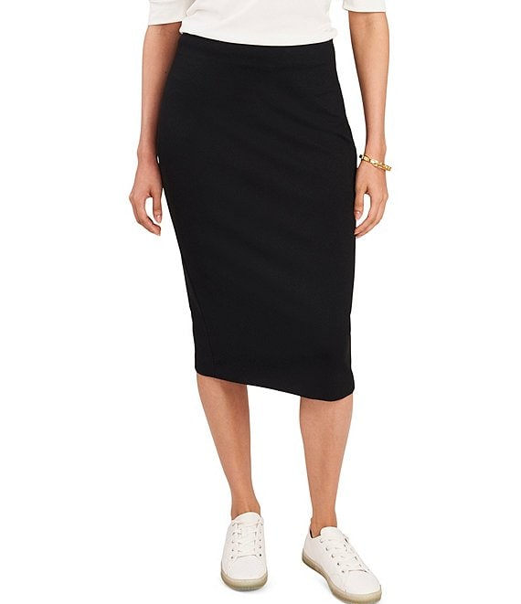 Color:Rich Black - Image 1 - Ponte Pencil Midi Skirt