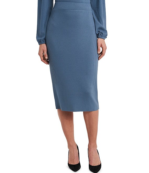 Color:Bluestone - Image 1 - Rib Knit Pencil Midi Skirt