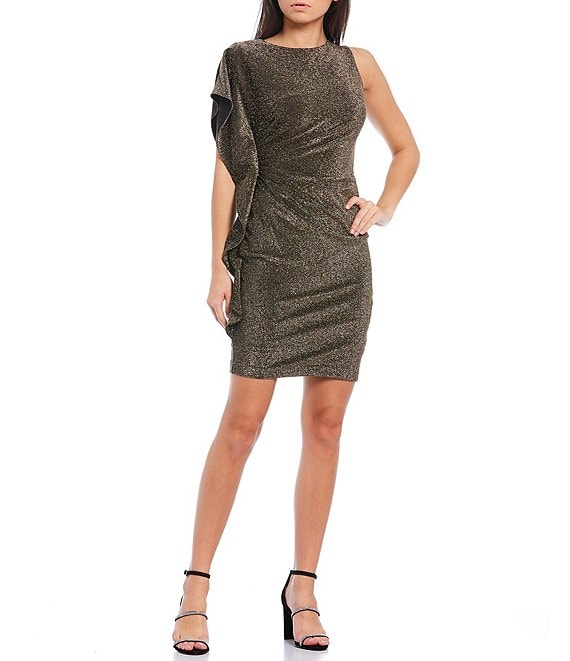 Color:Gold - Image 1 - Ruffle Sleeve Ruched Glitter Knit Sheath Dress