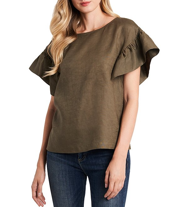 Color:Dusty Olive - Image 1 - Ruffled Short Sleeve Linen Top