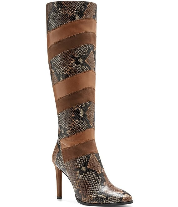 Color:Brown Multi - Image 1 - Saraalan Tall Snake Print Patchwork Boots