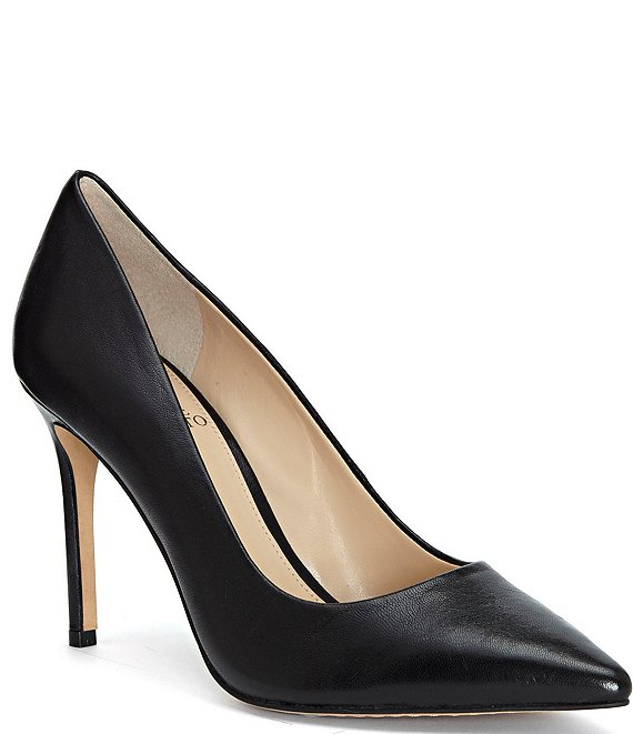 Color:Black Leather - Image 1 - Savilla Leather Stiletto Dress Pumps