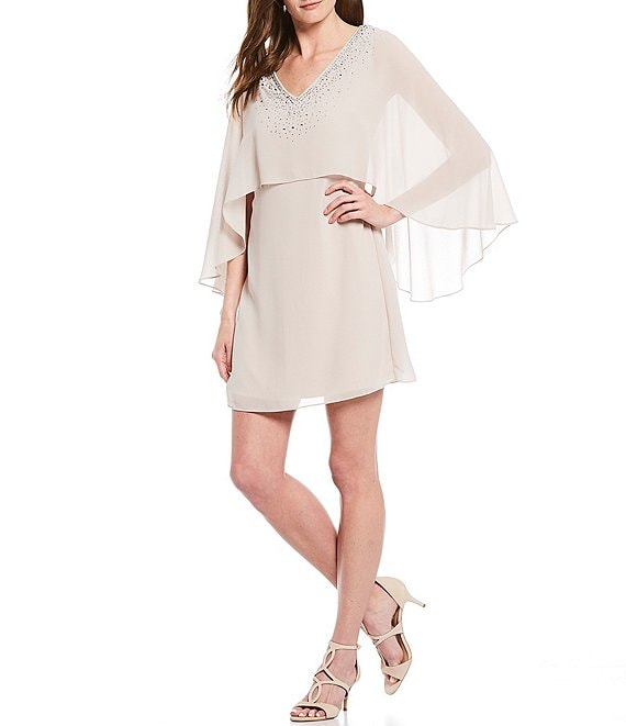 Color:Champagne - Image 1 - Sequined V-Neck Cape Layered Shift Dress