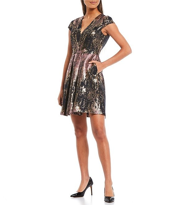 Color:Pink Multi - Image 1 - Short Sleeve Foiled Metallic Fit & Flare Dress