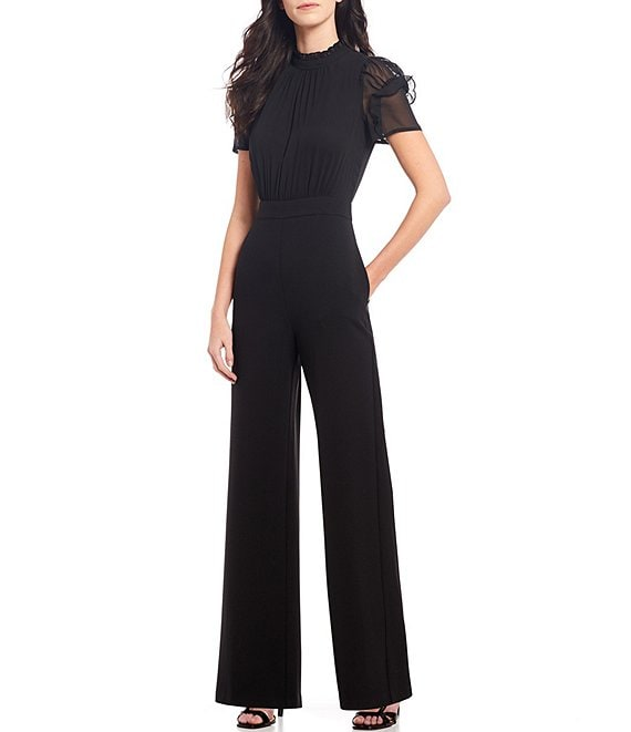 Color:Black - Image 1 - Short Sleeve Mock Neck Chiffon Bodice Jumpsuit