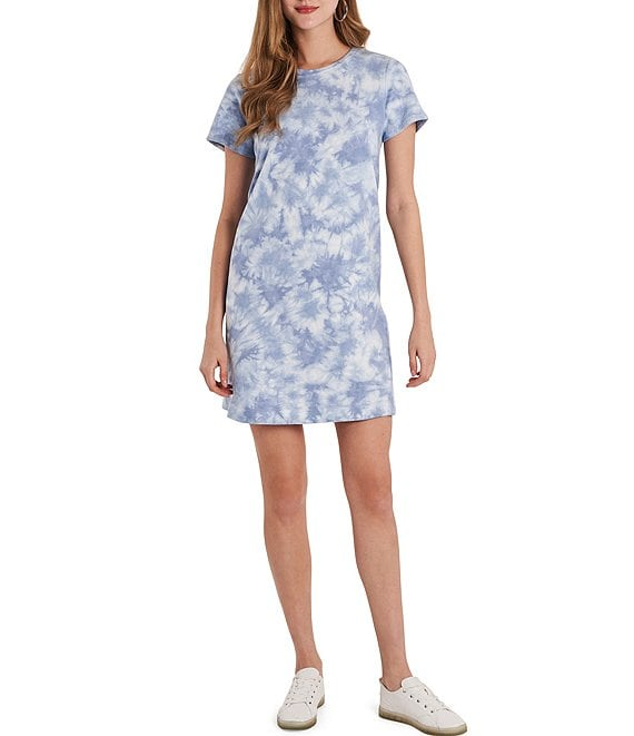 Color:Blue Cloud - Image 1 - Short Sleeve Tie Dye Knit Terry T-Shirt Dress