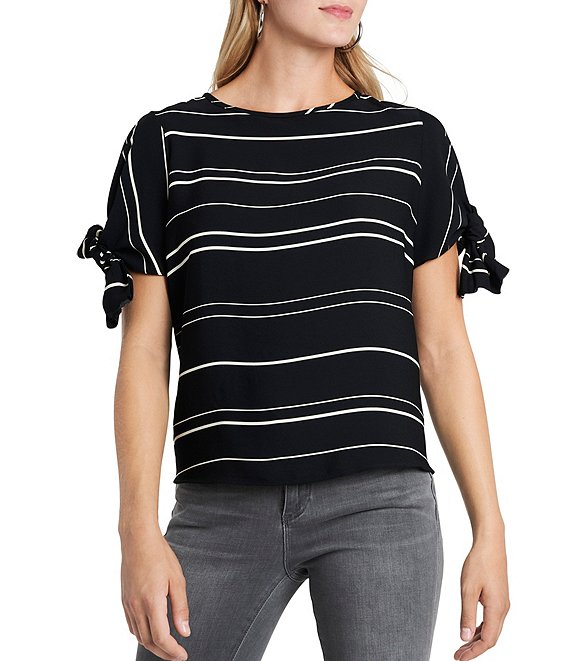 Color:Rich Black - Image 1 - Short Tie Sleeve Striped Blouse