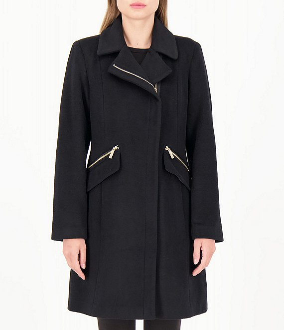 Color:Black - Image 1 - Single Breasted Wool Blend Walker Coat