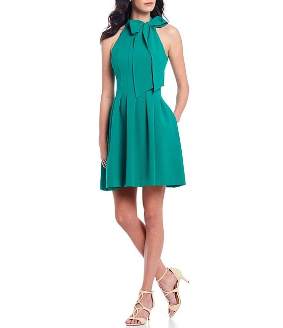 Color:Kelly - Image 1 - Sleeveless Bow Neck Fit and Flare Dress