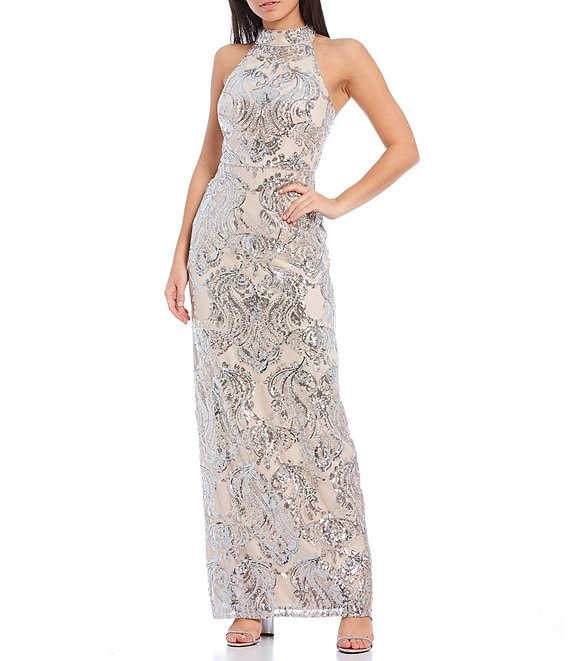 Color:Silver - Image 1 - Sleeveless Halter Neck Damask Sequined Gown