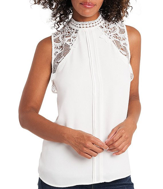 Color:New Ivory - Image 1 - Sleeveless Lace Collar Pleat Front Blouse