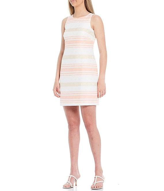 Color:Coral - Image 1 - Sleeveless Striped Metallic Jacquard Shift Dress