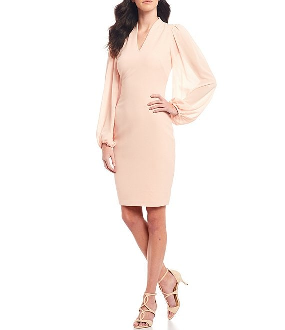 Color:Blush - Image 1 - V-Neck Long Chiffon Sleeve Crepe Sheath Dress