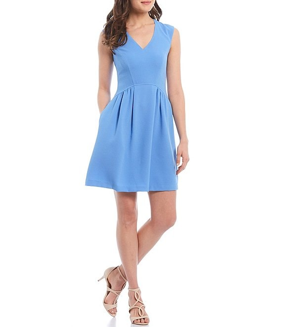 Color:Periwinkle - Image 1 - V-Neck Sleeveless Crepe Dress