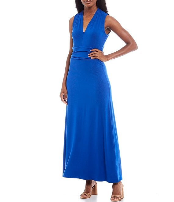 Color:Cobalt Blue - Image 1 - V-Neck Sleeveless Knit Maxi Dress