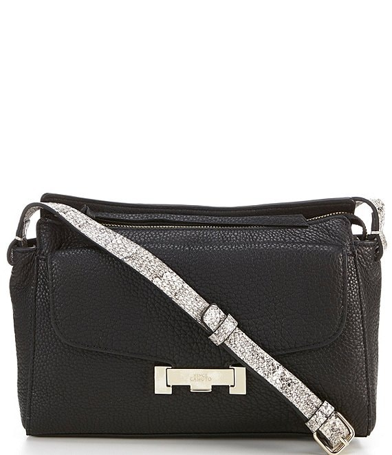 Color:Black - Image 1 - Vivia Leather Zip Top Crossbody Bag