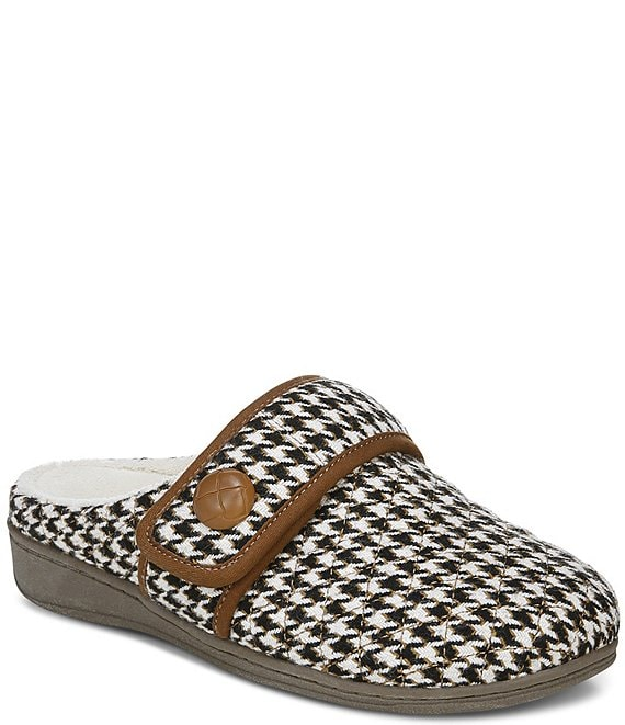 Color:Cream - Image 1 - Carlin Houndstooth Slippers