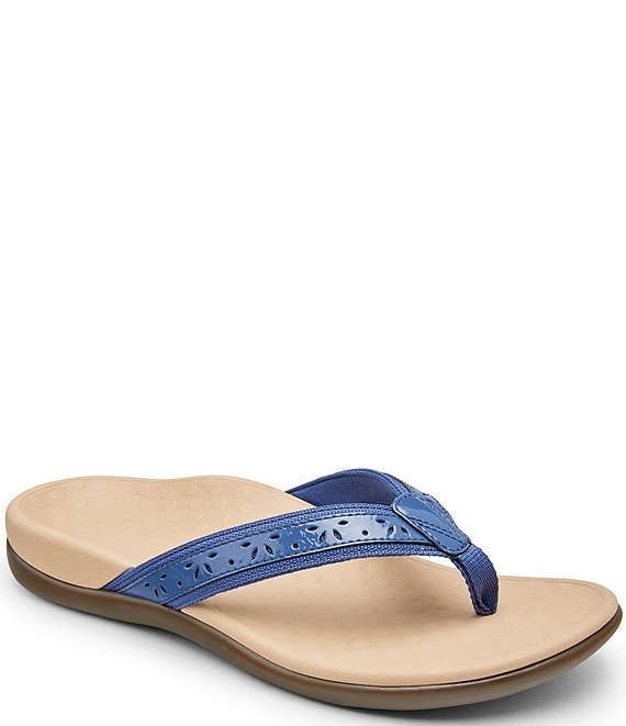 Color:Indigo - Image 1 - Casandra Perforated Leather Thong Sandals
