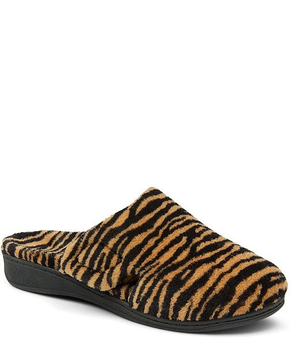 Color:Natural Tiger - Image 1 - Gemma Tiger Faux Fur Slippers