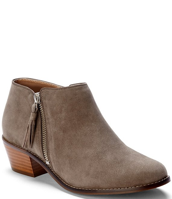 6e19fed1ccdc0 Vionic Serena Water Resistant Suede Zipper with Tassel Pull Block Heel  Ankle Boots | Dillard's