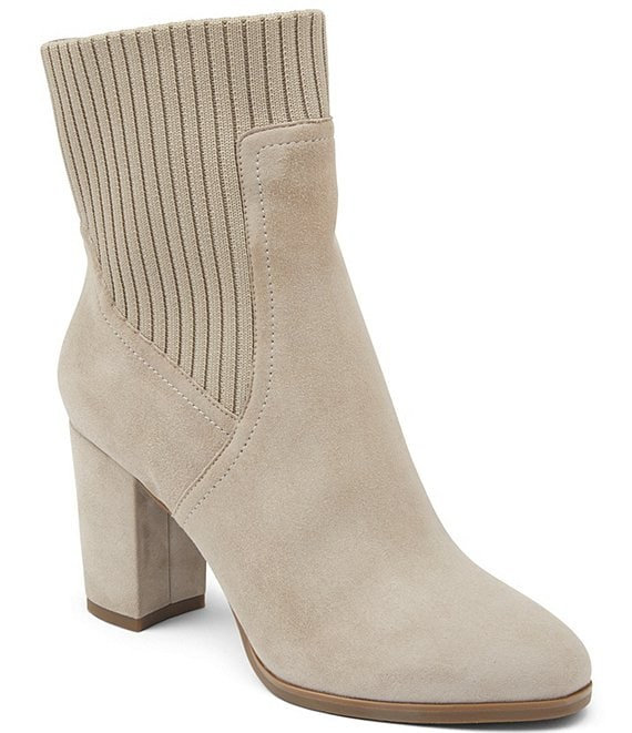 Color:Dark Taupe - Image 1 - Kaylee Knit Water Resistant Suede Boots
