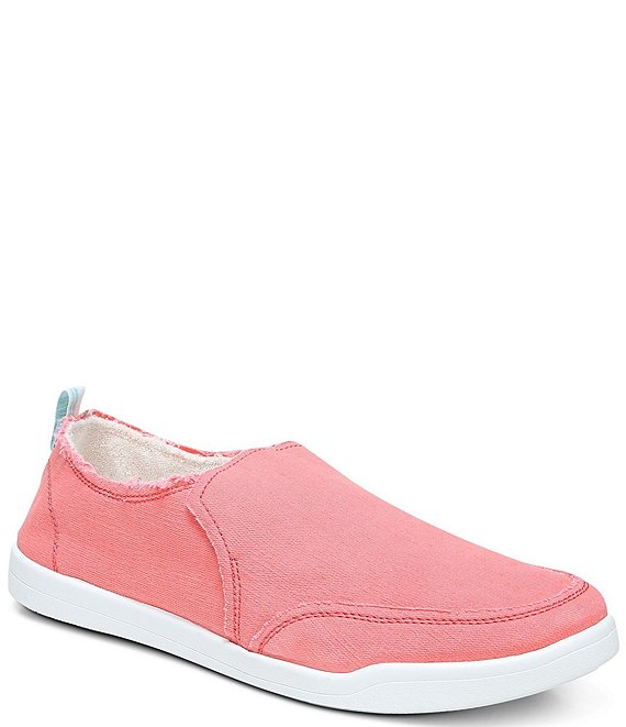 Color:Sea Coral - Image 1 - Malibu Canvas Frayed Washable Slip-On Sneakers