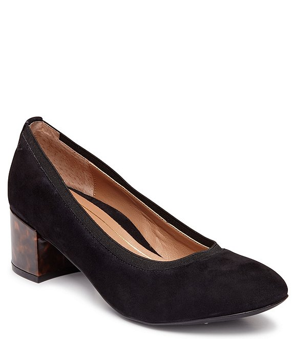 Color:Black - Image 1 - Natalie Tortoise Block Heel Suede Pumps