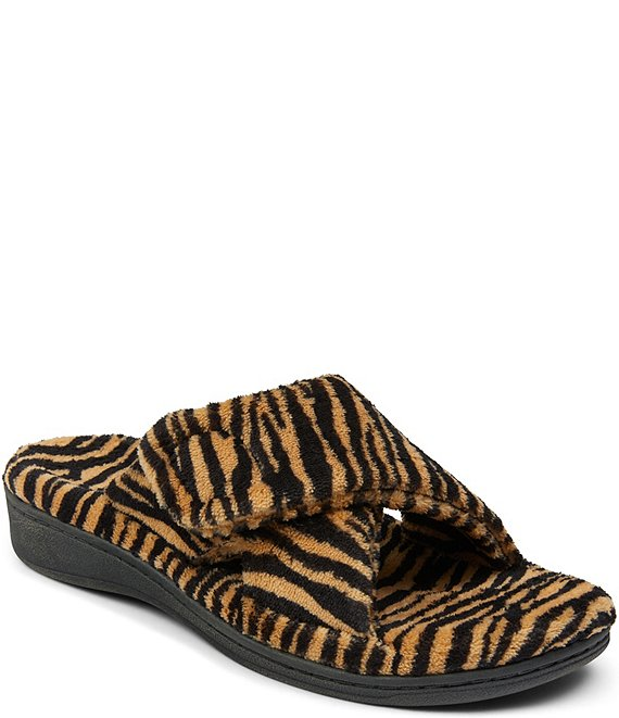 Color:Natural - Image 1 - Relax Faux Fur Tiger Criss-Cross Slippers
