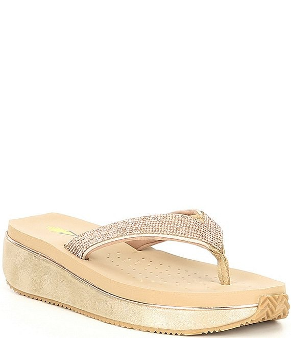 ced234015192 Volatile Eleanor Rhinestone Thong Wedge Sandals