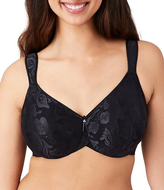 Color:Black - Image 1 - Awareness Full-Busted Floral Underwire Bra