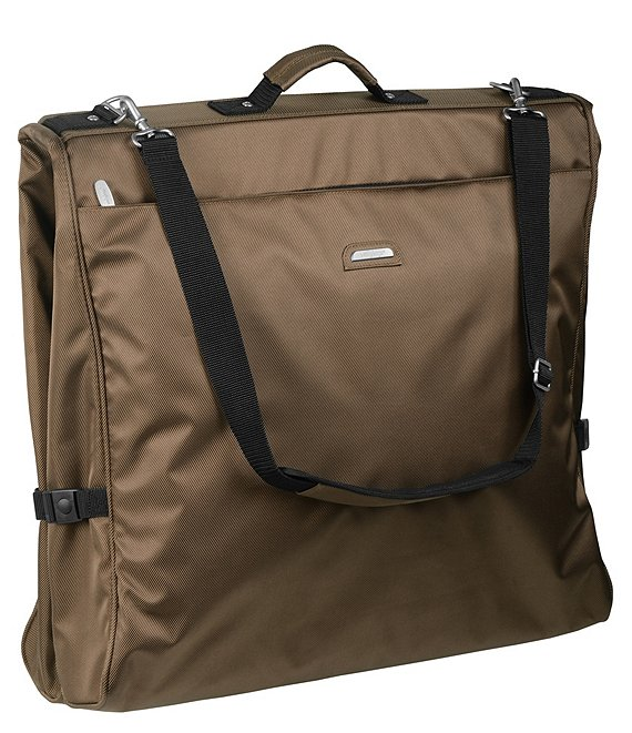 Color:Brown - Image 1 - 45-inch Framed Garment Bag with Shoulder Strap and Multiple Accessory Pockets