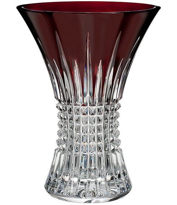 Color:Red - Image 1 - Lismore Diamond Crystal Vase