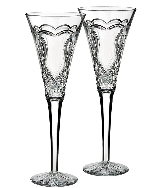 Waterford Wedding Collection Heart-Etched Diamond-Cut Crystal Toasting Flute Pair