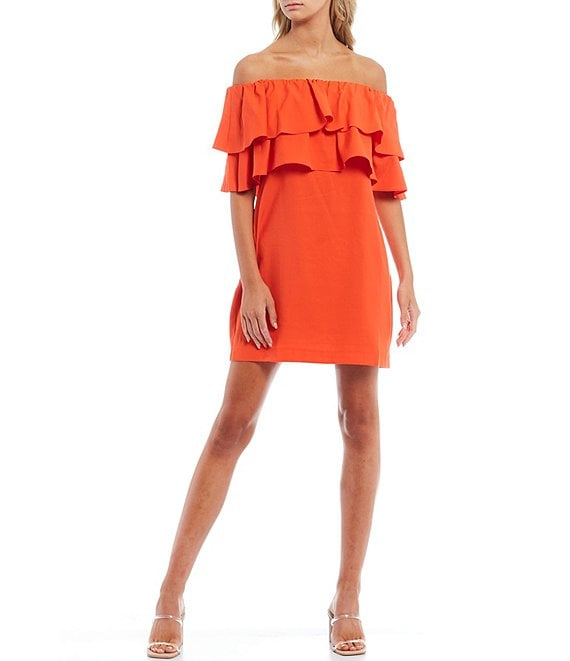 WAYF Off-The-Shoulder Pop Over Ruffle Mini Dress
