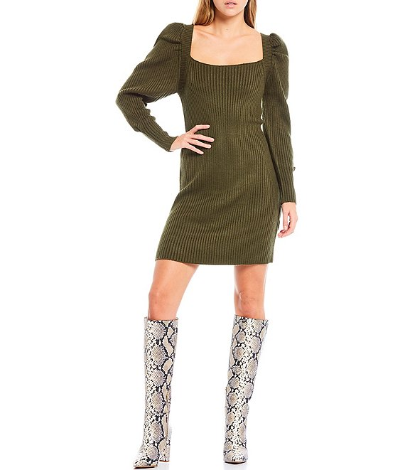 Color:Olive - Image 1 - Square Neck Puff Sleeve Tie Back Sweater Dress