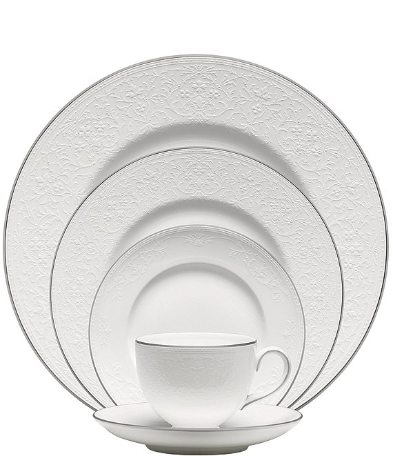 Color:White - Image 1 - English Lace Bone China 5-Piece Place Setting