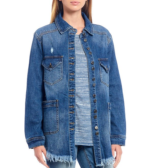 Color:Dark Sand Washed - Image 1 - Distressed Frayed Hem Denim Jacket