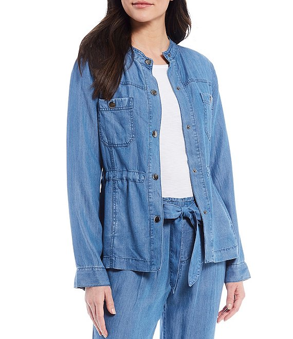 Color:Light Wash Indigo - Image 1 - Light Wash Indigo Utility Jacket