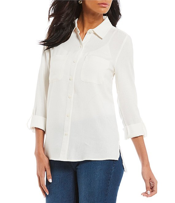 Westbound Petite Size Rouched Back Button Down Hi-Low Boyfriend Shirt