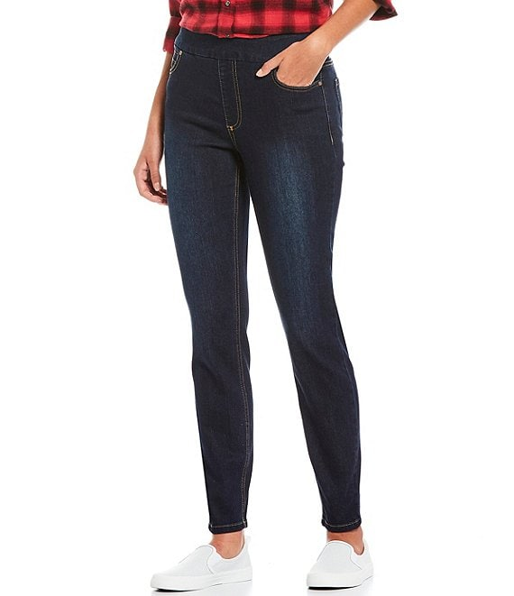 Color:Dark Blue Blast - Image 1 - Petite Size the HIGH RISE fit Skinny Denim Pull-On Pants
