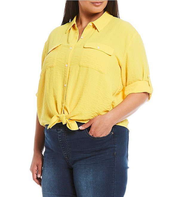 Westbound Plus Size Roll-Tab Elbow Sleeve Tie Front Shirt