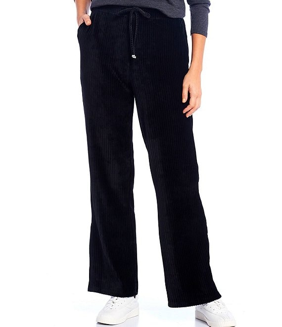 Color:Black - Image 1 - Ribbed Velour Drawstring Pants