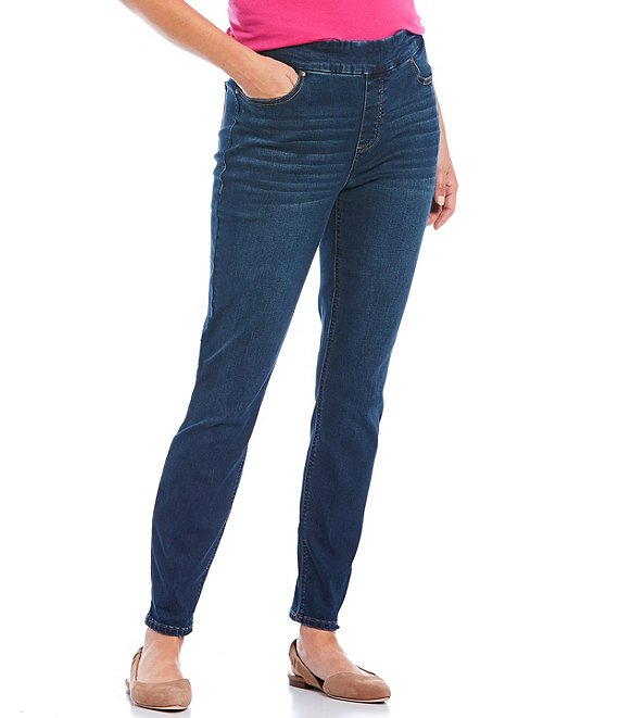 Color:Dark Blue - Image 1 - the HIGH RISE fit Skinny Denim Pull-On Pants