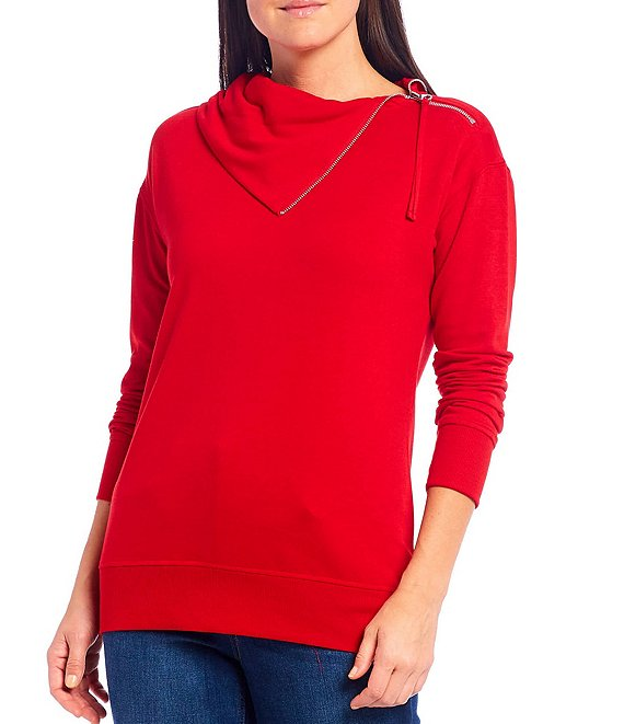 Color:Barbados Cherry - Image 1 - Zipper Detail Split Neck Pullover