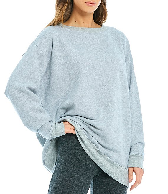 Color:Heather Grey - Image 1 - Roadtrip Crew Neck French Terry Sweater