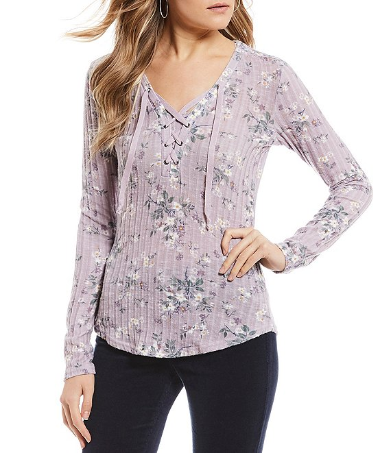 William Rast Phoebe Printed Lace V-Neck Top